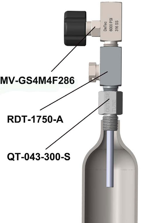 Cylinder Assembly with Outage Tube, Rupture Disc Assembly and Sample Valves